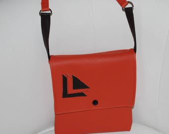 Orange/brick - brown leather bag