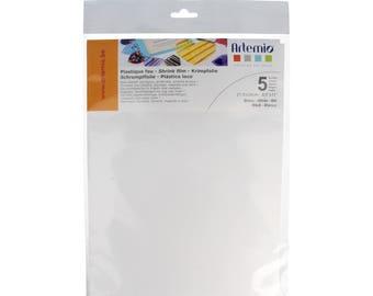Plastique fou blanc x 5 feuilles - 21,5 x 28 cm - Artemio - Ref 14090020 ---------- Jusqu'à épuisement du stock !