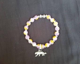 LSU Multi-Colored Agate Stretch Bead Bracelet