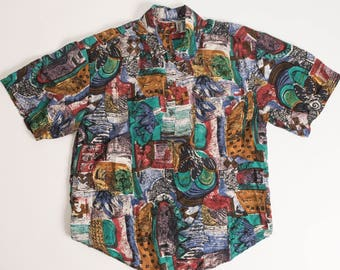 Vintage 80's-90's Abstract Short Sleeve Button Down