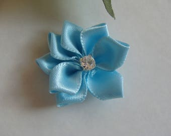 Applique flower sky blue color with Rhinestone 3 cm diameter