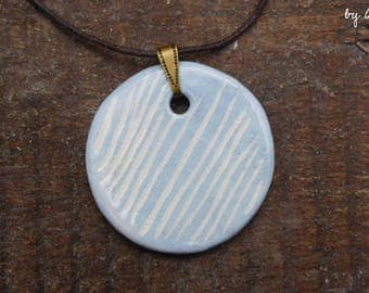 Necklace blue ceramic pattern lines engraved