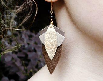 LARGE LOTUS Choco earring