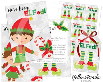 You've Been ELFed! Christmas Printable, Elf Kit, You've Been ELFed Printable, Christmas Tags, Holiday Tag, INSTANT DOWNLOAD