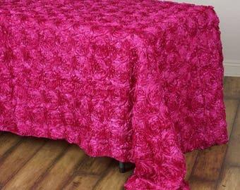 HOT PINK Rosette Tablecloth Rectangular Rose Grandiose Rosette Tablecloth  Tablecover