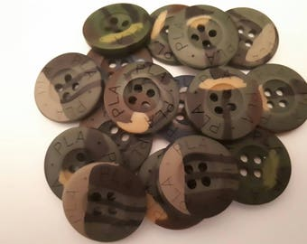 set of 10 20 mm khaki green army camouflage buttons
