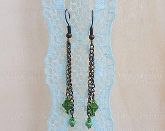 ON SALE Green Beaded Dangle earrings with bronze chain Free Shipping Nickel free