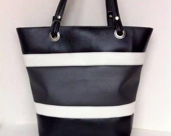 handbag vinyl vegan bag in black and white color block geometric faux leather scraps purse
