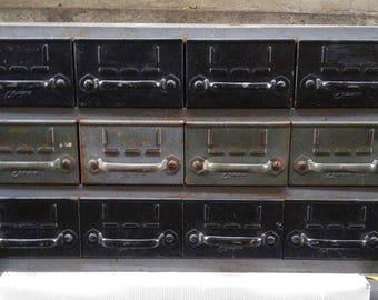 Vintage Industrial Equipto 18-Drawer Modular Drawer Cabinet