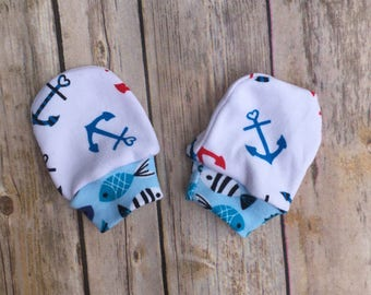 Nautical Mittens - Nautical Mitts - Anchor Mittens - Anchor Mitts - Baby Scratch Mittens - Baby Scratch Mitts by Note Any Treble