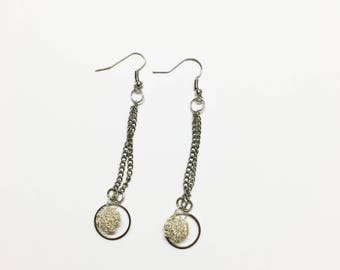 Simple silver dangle earrings, hoop drop earrings