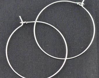 Set of 10 silver plated earrings rings hoops #354 29x25mm