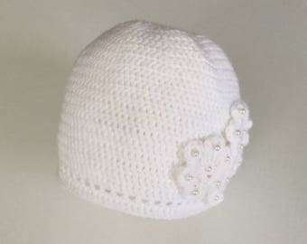 White crocheted 3 month baby Hat
