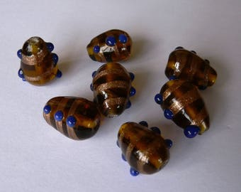 Set of 7 lampwork glass beads amber