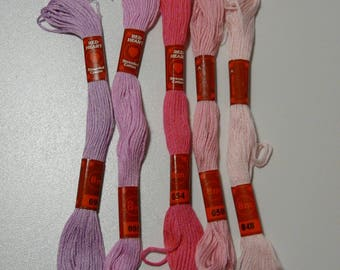 Set of 5 skeins of cotton embroidery FLOSS shades of pale pink to purple
