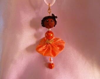Pendant cute miniature doll Aminata