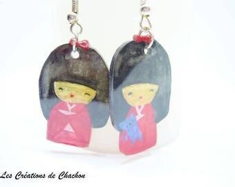 """""""Kokeshi"""" shrink plastic earrings"""