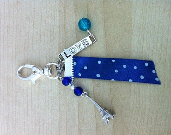 Blue tone charms and Ribbon bag charm