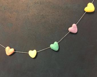 Pastel Rainbow Felt Wool Heart Garland Handmade