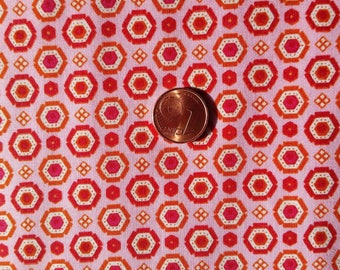 Fabric cotton printed red & orange geometric (sold in 0.50 m)