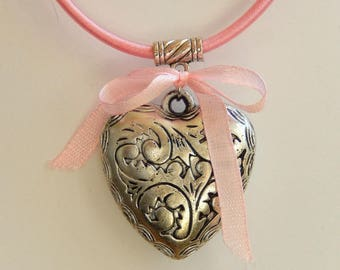 Gift Choker mounted pink eco-friendly cotton and his big heart silver