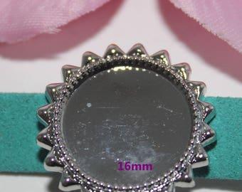 2 beads women silver ring 16mm - SC59148 - Sun