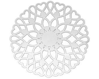 Set of 10 prints filigree steel 46mm SC65988 Silver Flower charm