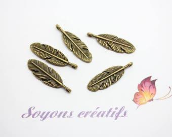 10 charms 9x30mm - SC14433 - Bronze feather Charm pendants