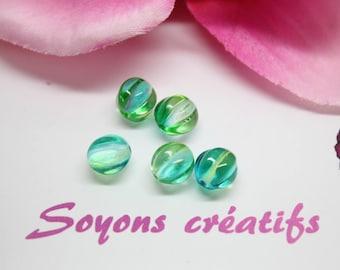 Lot 5 beads pumpkin Czech blue green 8 mm SC0090911 - design - jewelry