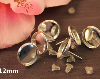 10 pairs earrings chip silver 12mm cabochon