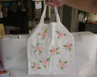 White lightweight cotton tote bag, handpainted with pink flowers
