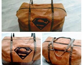 Camel leather, Superman pattern weekend bag