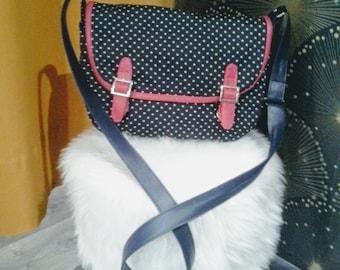 Shoulder bag in navy blue denim, stars pattern