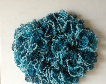 Ruffle lace lined turquoise shades tassels scarf