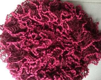 Large ruffle scarf shades Burgundy and pink