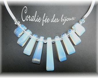 natural stones, Crystal Necklace and white pvc tube