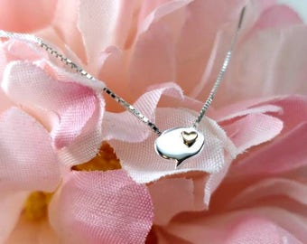 Chat Bubble Heart Charm Necklace Valentine's Day Cute Dainty