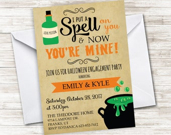 Halloween Engagement Party Invite Invitation 5x7 Digital Shower Bridal Spell On You