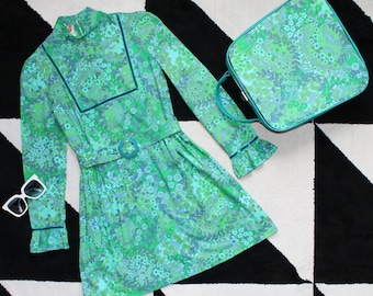 Rare Vintage 60s Dollyrockers Mini Dress and Matching Suitcase Green, Blue Print
