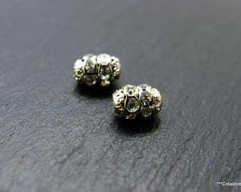 2 beads swarovski silver 9 x 6 mm