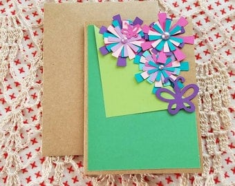 Flower bouquet blank card will personalize upon request