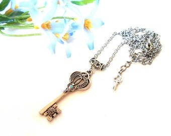 Necklace long key pendant necklace with a turquoise Swarovski Crystal steampunk Gothic