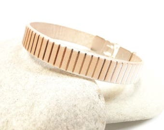 Ivory and silver leather bracelet