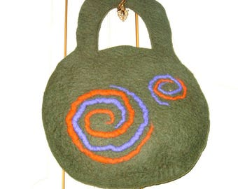handmade felt bag, spiral of life/bag