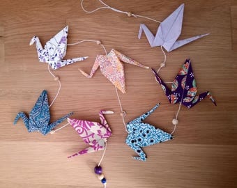 Purple and blue origami crane Garland