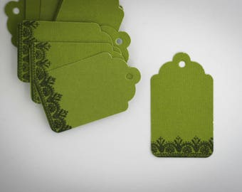 10 Green Tags labels with black floral border