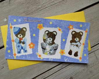 """Triple """"1,2,3...nous that is"""" congratulations card or birthday"""