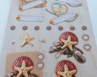 A4 image precut to assemble Starfish for a summer wedding congratulations alliance sea theme 3D effect