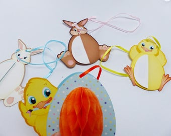 4 ornaments Easter Bunny chick with honeycomb belly