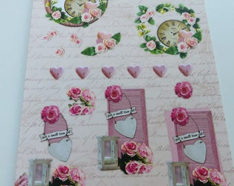 Board sheet A4 images precut to assemble for a 3D effect on the theme of the romantic nature clock-pink flower Lantern